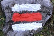 Signalisation des Bergwanderwegs